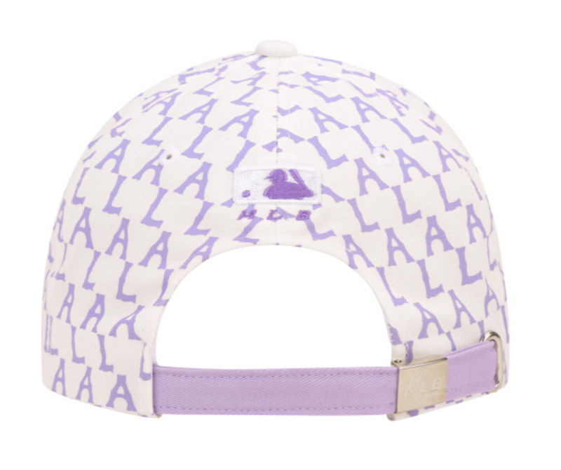 Purple LA Monogram Unstructured Baseball Cap