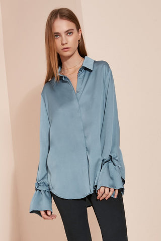 Oversized Shirt with Frilled Sleeves