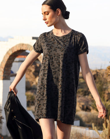 Slate Leopard T-shirt Dress
