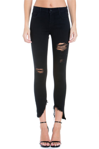 Side Zip Destroy Crop Skinny