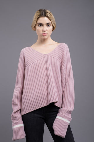 Scoop Neck Rolled Cuff Sweater