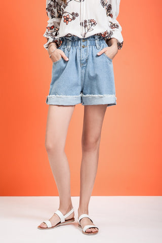 Paperbag Roll-Up Denim Shorts