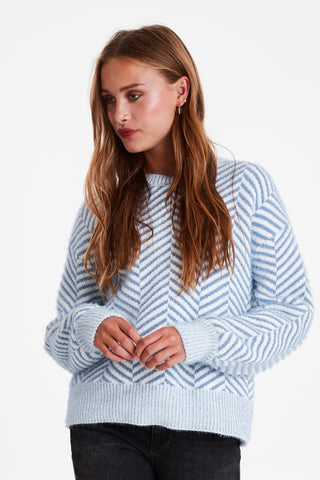 Line Patterned Crewneck Sweater