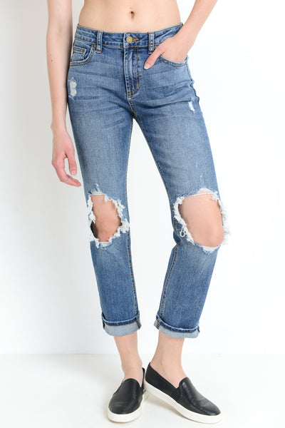 Knee Blow-Out Straight Leg Jeans