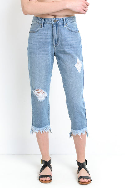 Unbalanced Hem Girlfriend Jeans