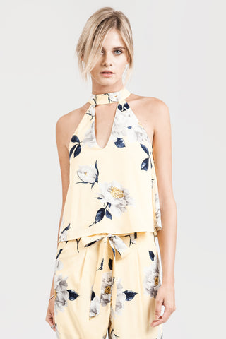 Floral Sleeveless Halter Top