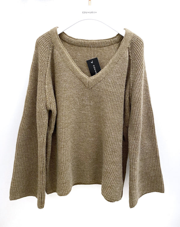 Oversized V-neck Ribbed Sweater