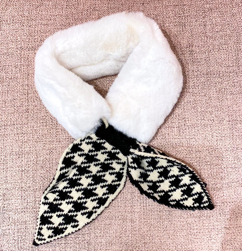 Fur Scarf with Knit Checker Tie