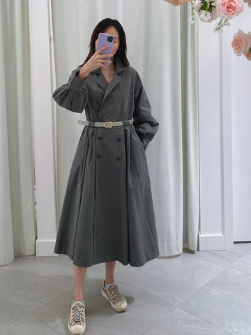 Double-breasted Flare Trench Jacket with Belt