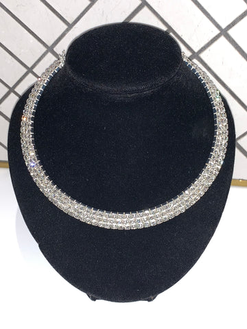 Three-layered Shiny Rhinestone Choker