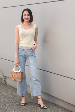 Wide Leg Denim Jeans with Contrasting Waistband