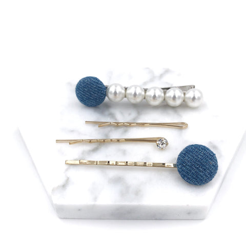 Round Denim and Pearls Hair Clip Set