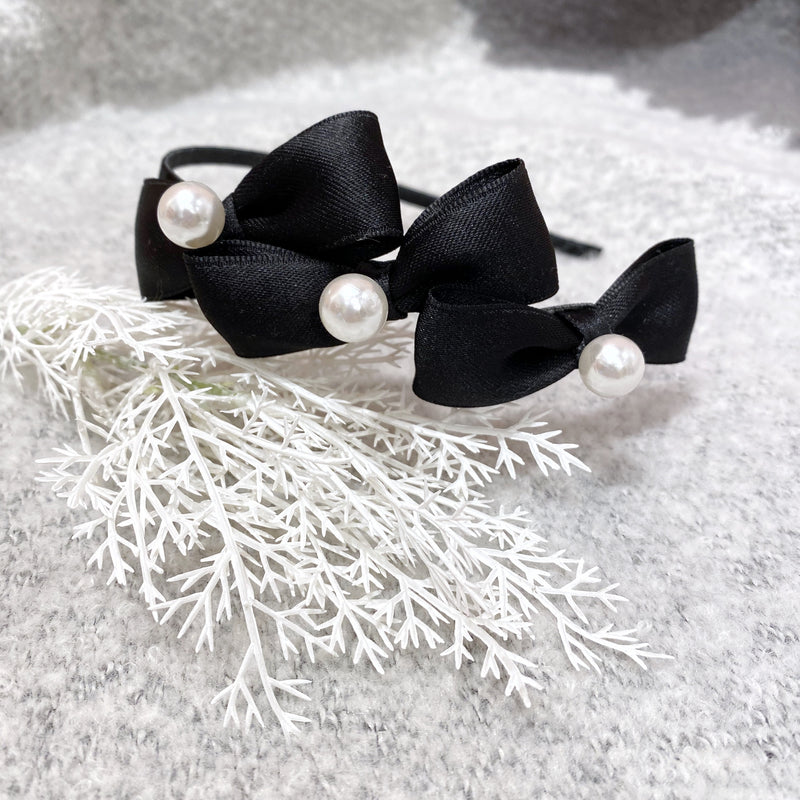 Triple Bows and Pearls Headband