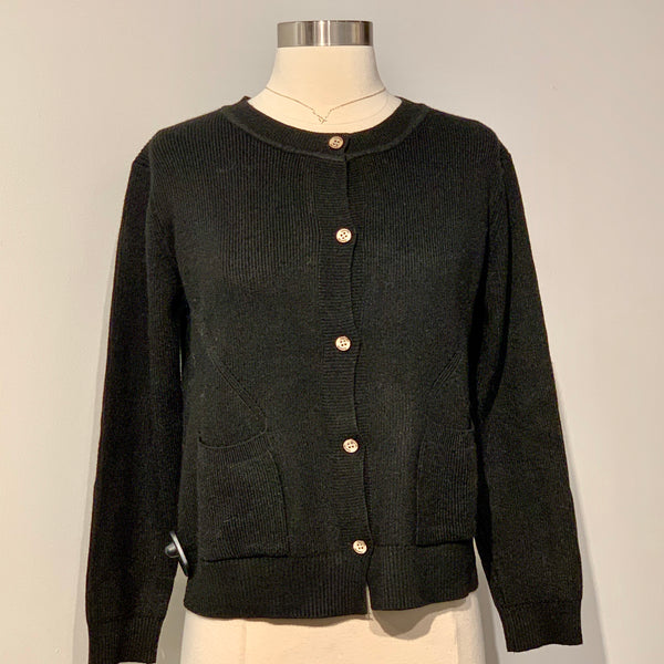 Crewneck Button Up Cardigan with 2 Pockets