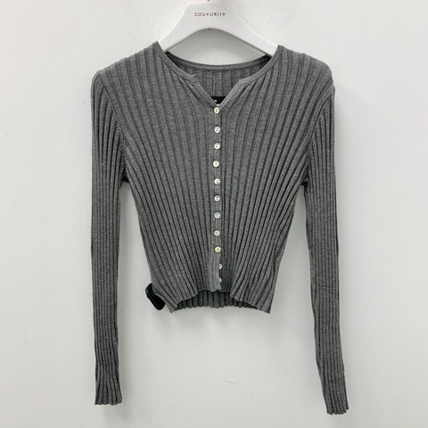 Ribbed Button Up Long Sleeves Crop Top