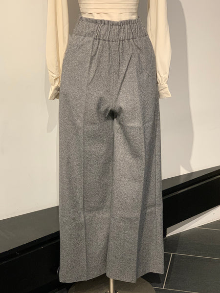 High-waisted Small Line Pattered Wide Leg Pants