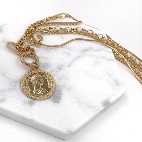 Three-layered Chain Necklace with Single Coin Pendant