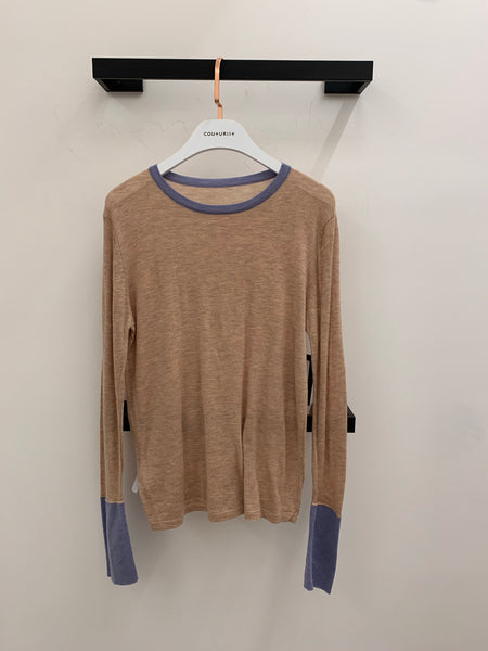 Contrasing Neckline and Sleeves Sweater