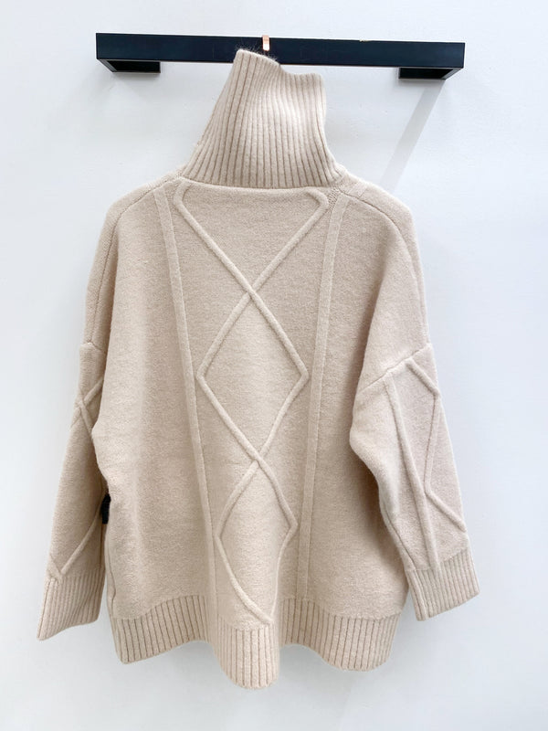 Oversized High Neck Diamond Pattern Sweater