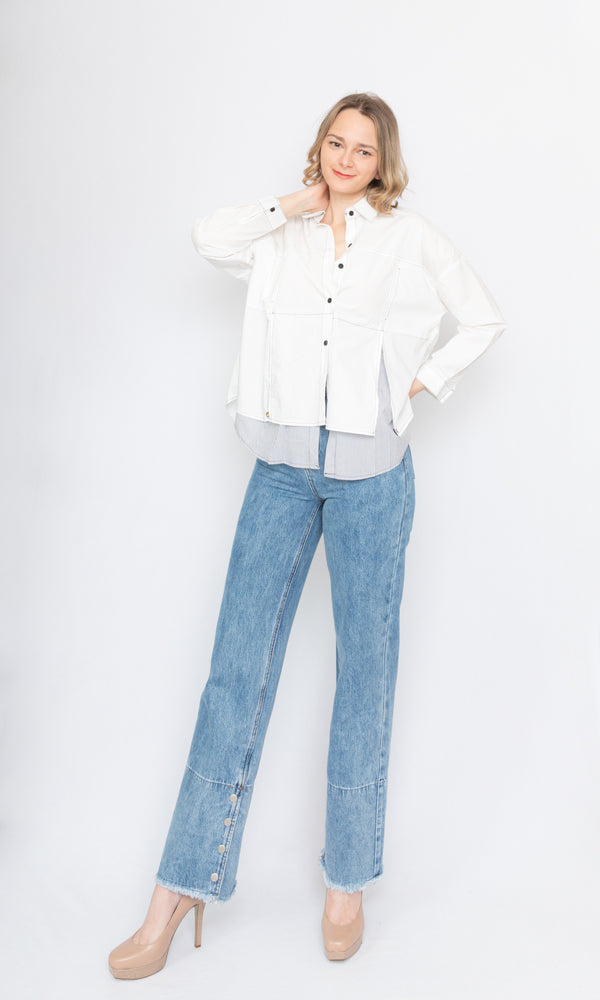 Contrasting Stitch Oversized Shirt