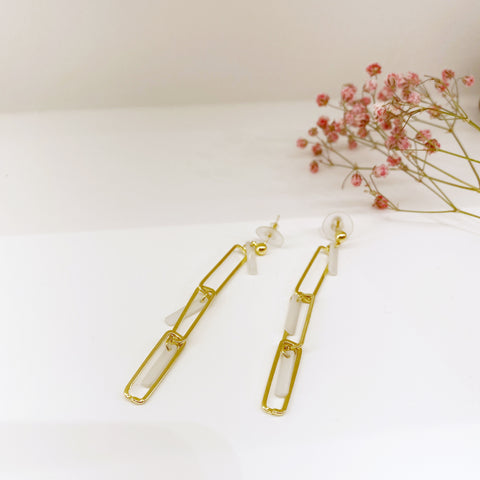 Acrylic and Metal Rectangle Chain Earrings