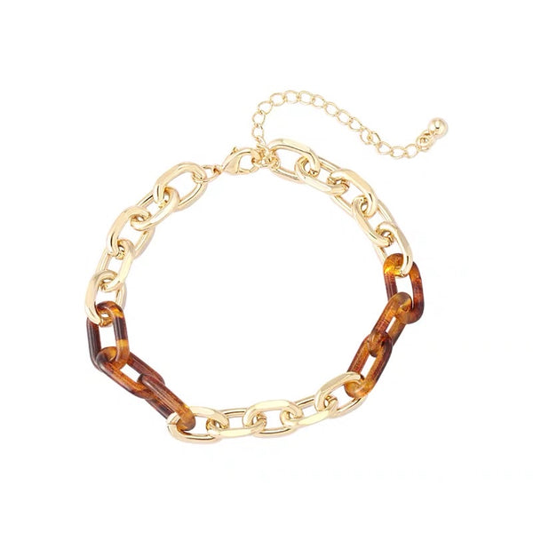 Brown Acrylic and Metal Big Chain Bracelet