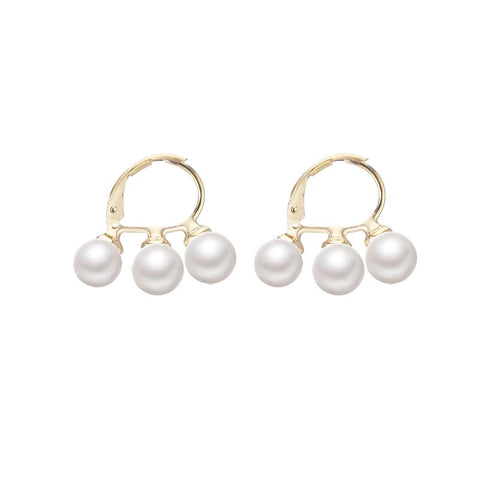 Three Pearls Hoop Earrings