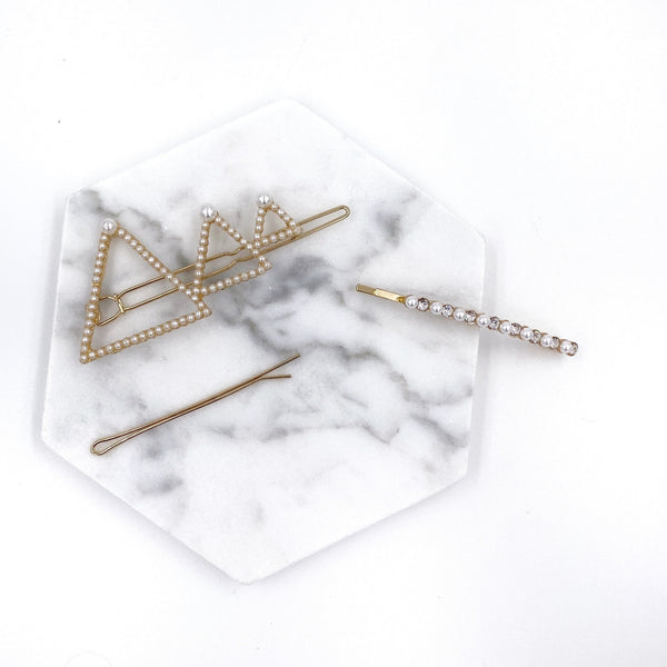 Pearl Triangles Hair Clip Set