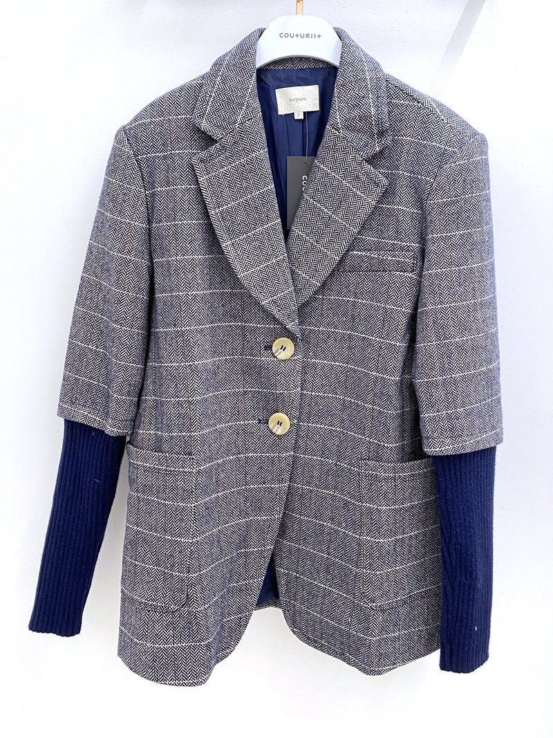 Checker Blazer with Knit Sleeved and Belt