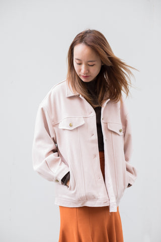 Oversized Line Patterned Jacket with Front Pockets