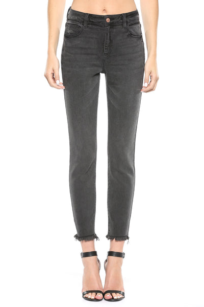 Frayed Hem Gray Wash Mom Skinny