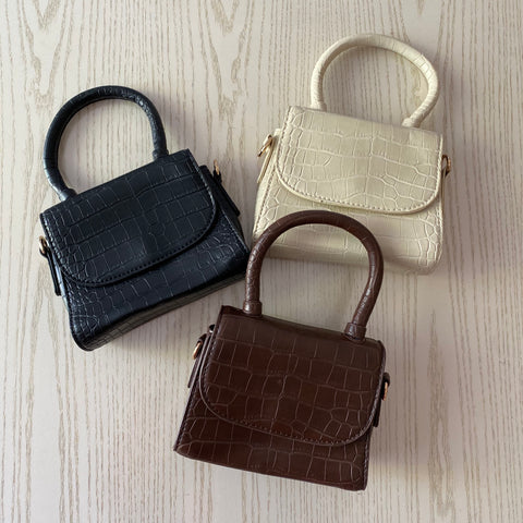Croc Embossed Mini Flip Bag with Handle
