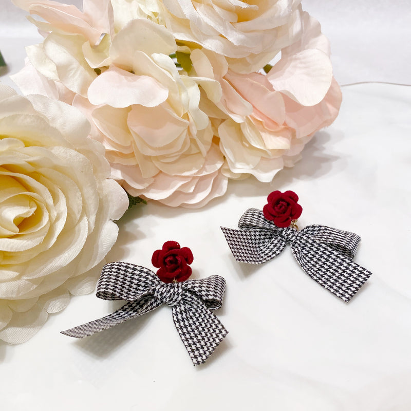Flower and Checker Bow Earrings