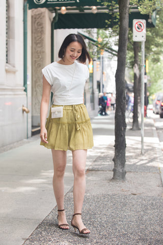 Pleated Flare Mini Skirt with Drawstring