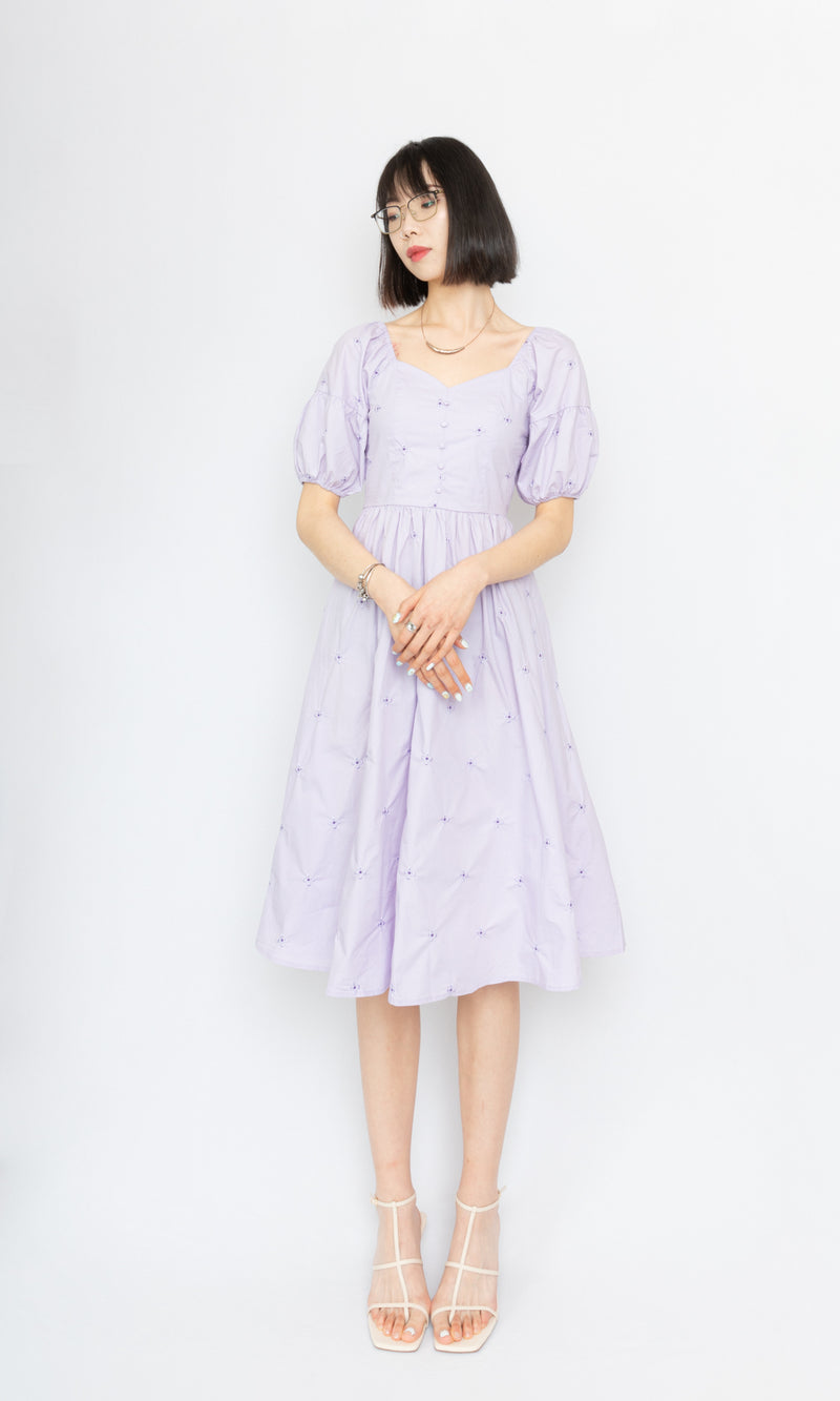 Flower Midi Dress with Puffy Sleeves