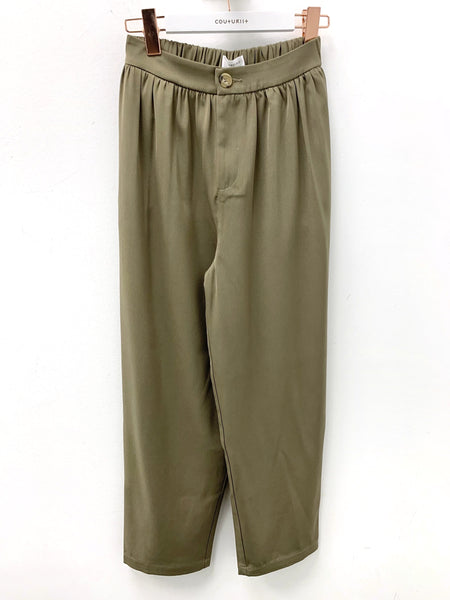 Straight Leg Trousers with Elastic Waistband