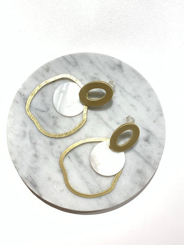 Big Circle and Acrylic Rounds Earrings