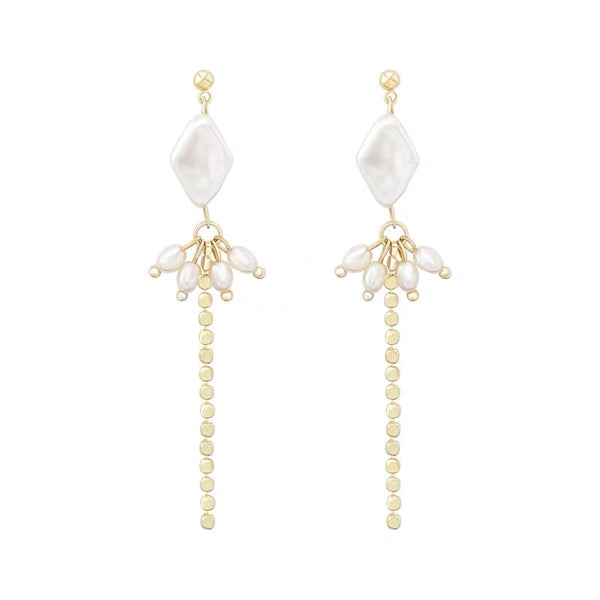 Diamond Shape Pearl Long Earrings