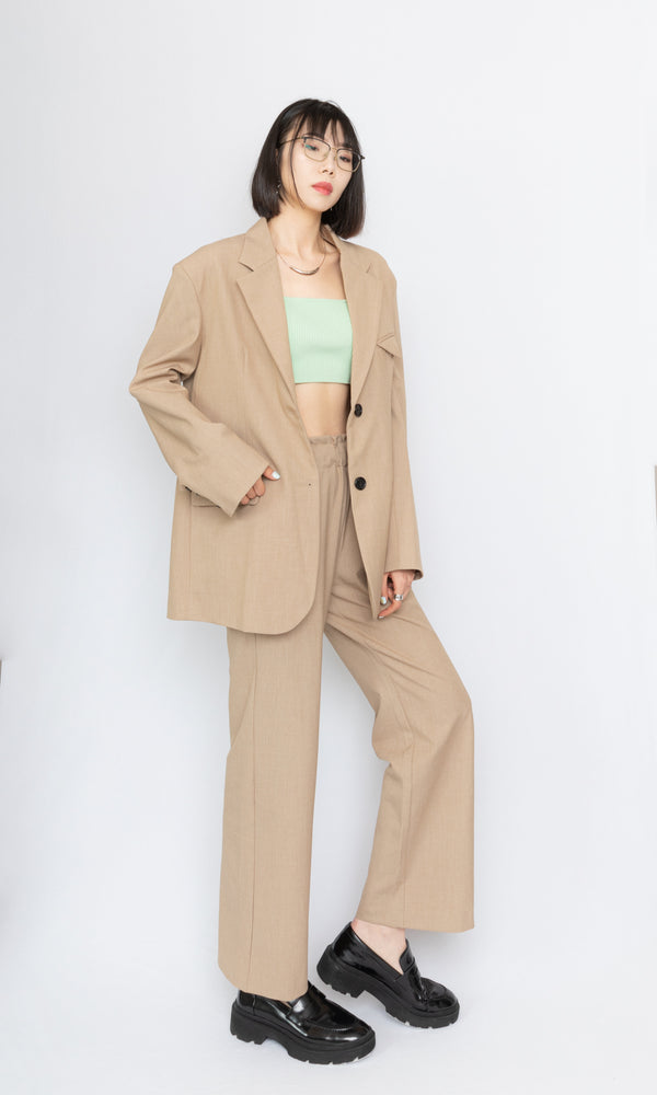 Wide Leg Trousers with Waist Drawstring