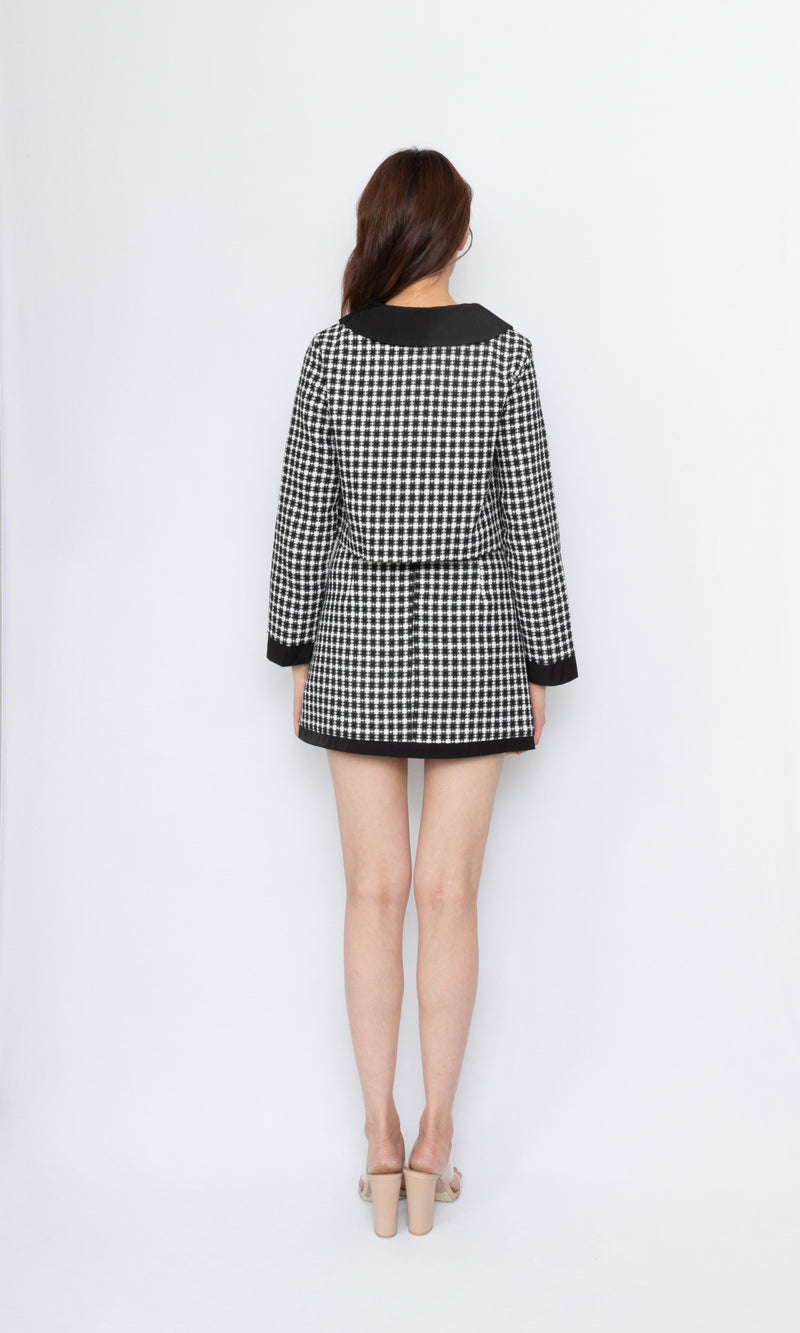 Checker Tweed Mini Skirt