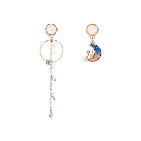 Blue and Pink Moon Earrings