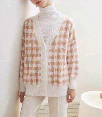 Oversized Checker Wool Cardigan
