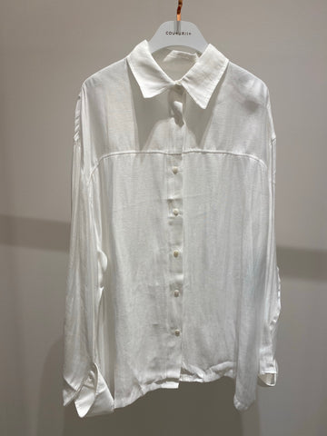 Oversized Chiffon Shirt with Button Cuffs