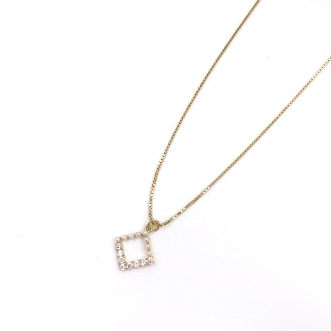 Pearl and Rhinestone Square Necklace