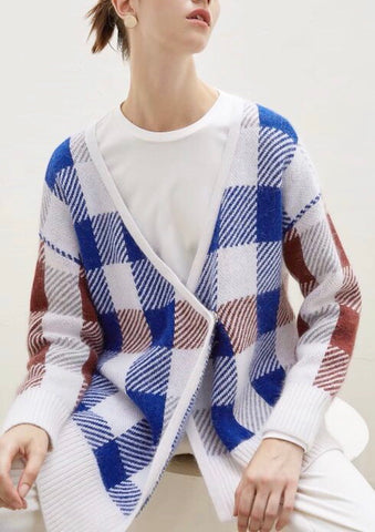 Asymmetrical Checker Wool Cardigan