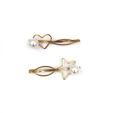 Single Pearl and Shape Hair Clip