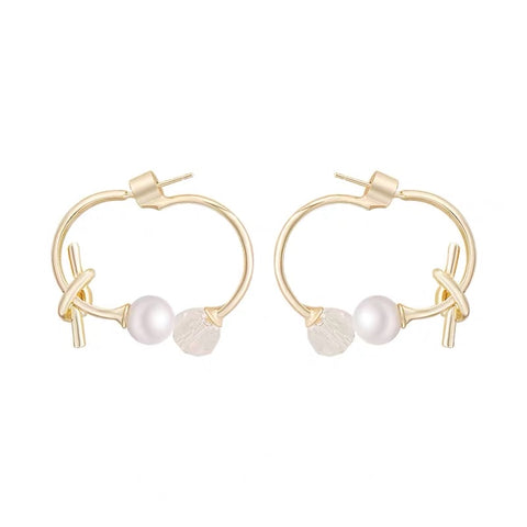 Pearl and Crystal Ball Hood Earrings