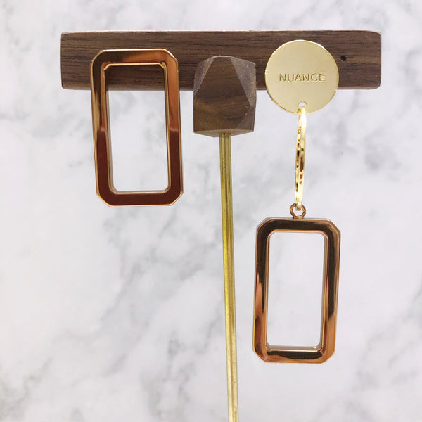 Asymmetrical Metal Rectangle Earrings