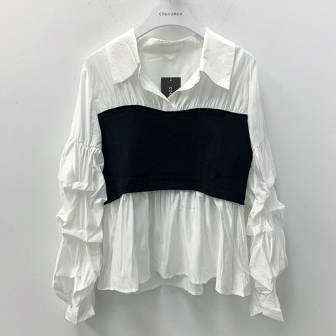Oversized Puffy Sleeves Shirt with Front Black Band