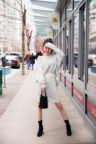 Knit Patterned Crewneck Sweater